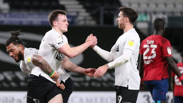 Derby ease to win over 10-man Terriers