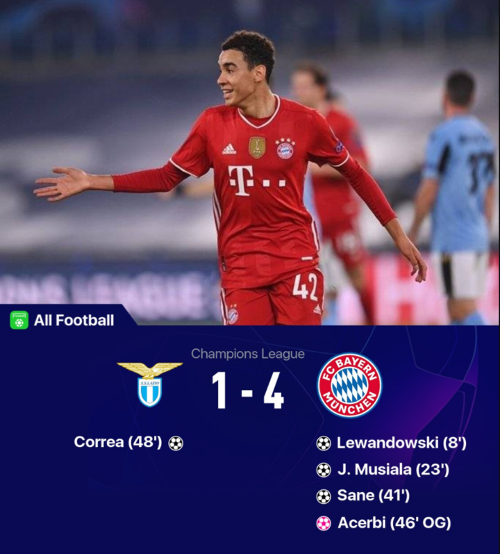 Lazio 1-4 Bayern: Lewy, Musiala, Sane goal help Bayern dominate the game