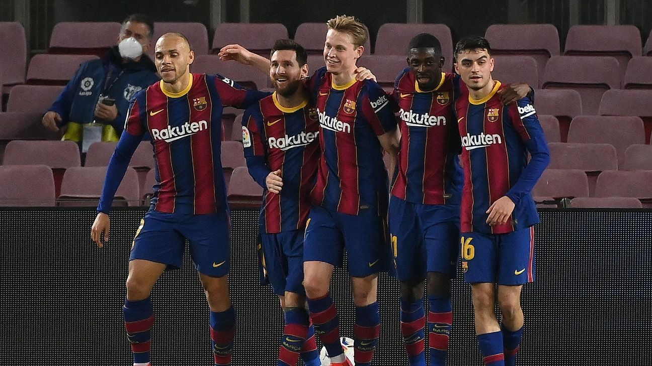 Messi brace helps Barca jump to third in La Liga