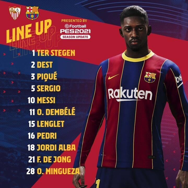 Sevilla vs Barcelona LINE-UPS: Messi partners Dembele in attack as Mingueza in