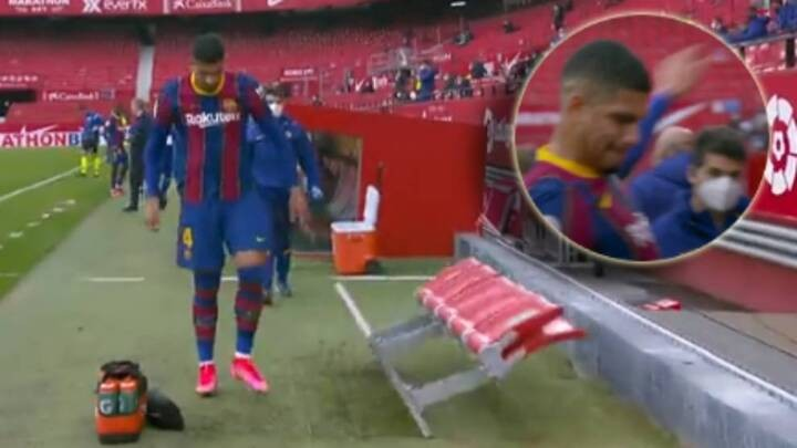 Araujo vents frustration at dugout after injury forces him off against Sevilla