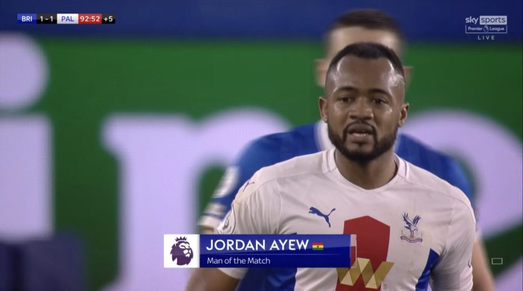 Ghana striker Jordan Ayew shines in Crystal Palace win at Brighton; picks MoTM gong