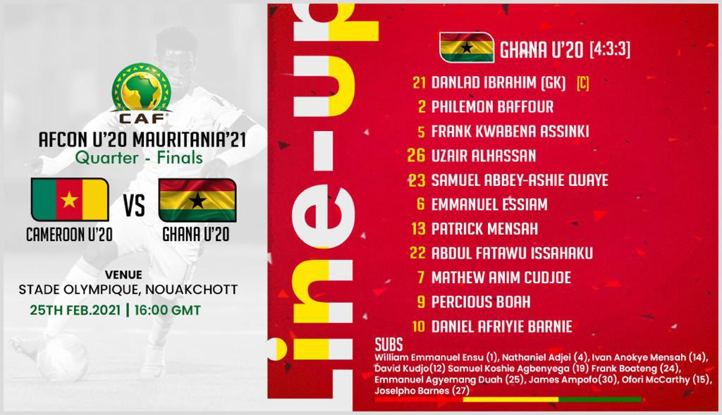 CAF U-20 Cup of Nations: Barnie, Cudjoe named in Ghana's starting line up to face Camerooon
