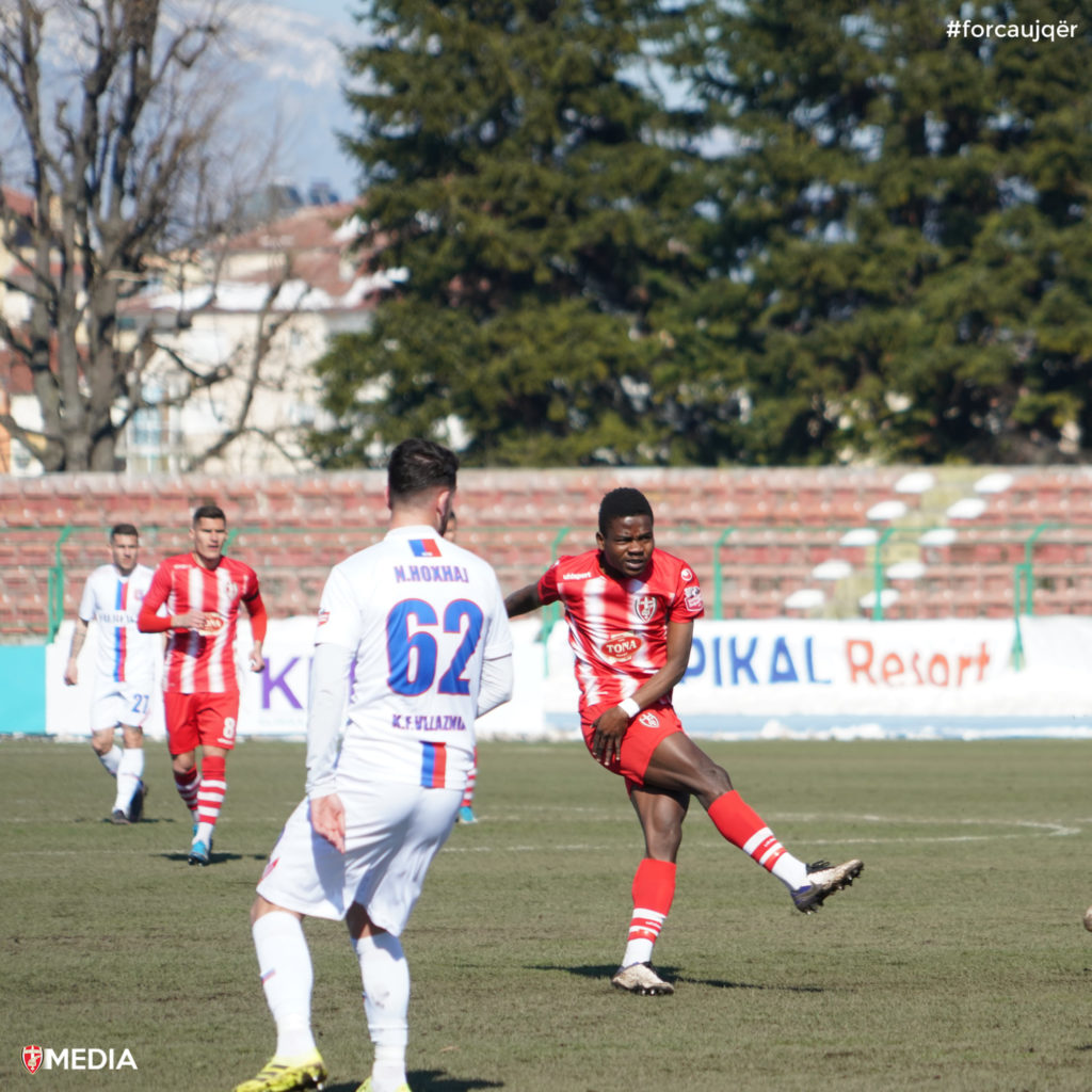VIDEO: Ghanaian midfielder Dennis Dowouna registers first goal for Albanian top-flight side Skenderbeu