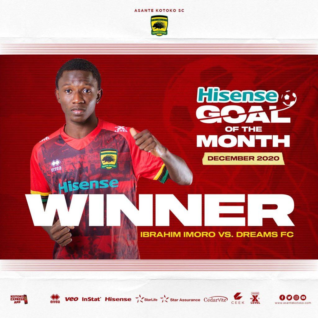 Imoro Ibrahim: Left back wins Asante Kotoko Goal of the Month award