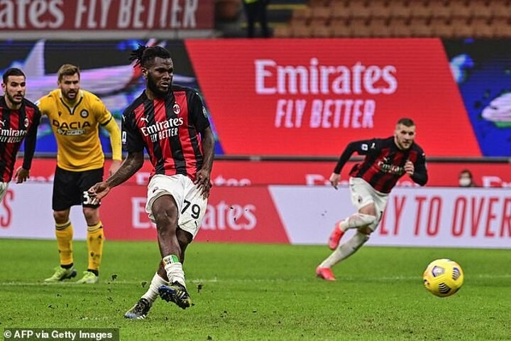AC Milan 1-1 Udinese:Franck Kessie scorespenalty with the last kick of the game to rescue a draw