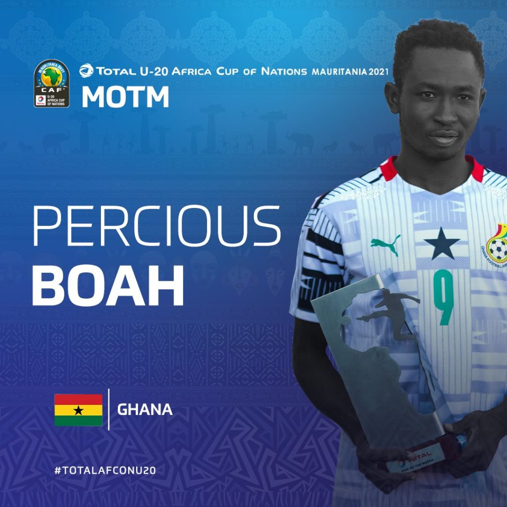 CAF U20 Cup of Nations: Percious Boah named MoTM in victory over Gambia