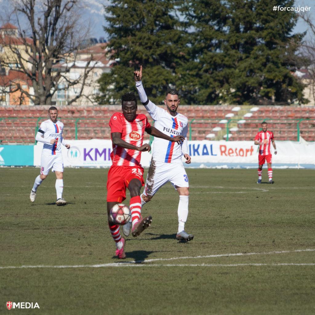 Ghanaian forward Alfred Mensah scores to power Skenderbeu into Albanian Cup semis