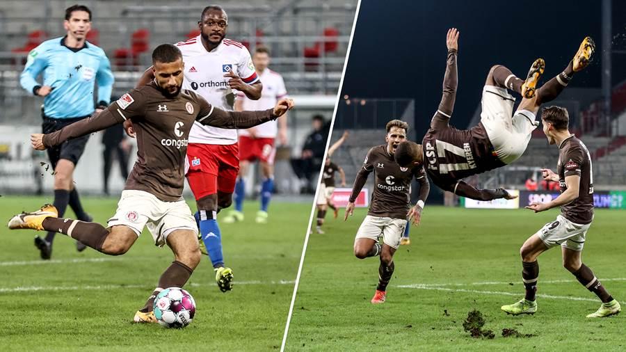 St Pauli forward Daniel Kyereh reacts to derby win against Hamburger SV