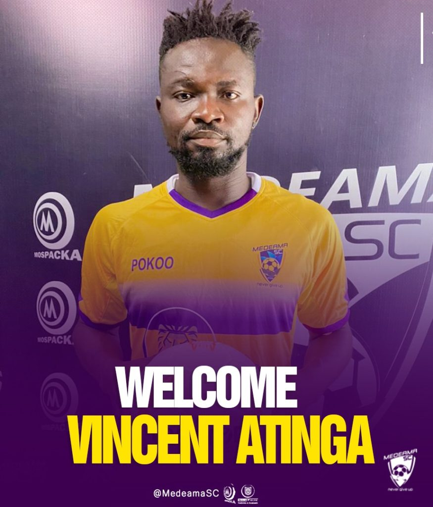 Medeama sign ex-Hearts of Oak defender Vincent Atinga on a two-and-half-year deal