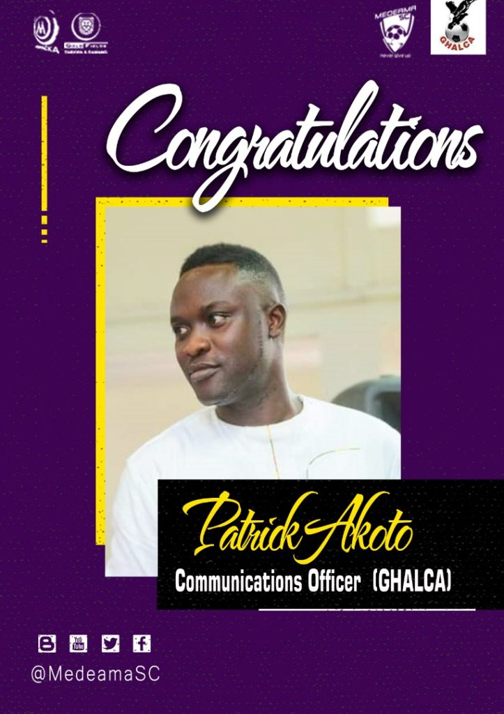 GHALCA appoint Medeama and GHANAsoccernet's Patrick Akoto as Communications Officer