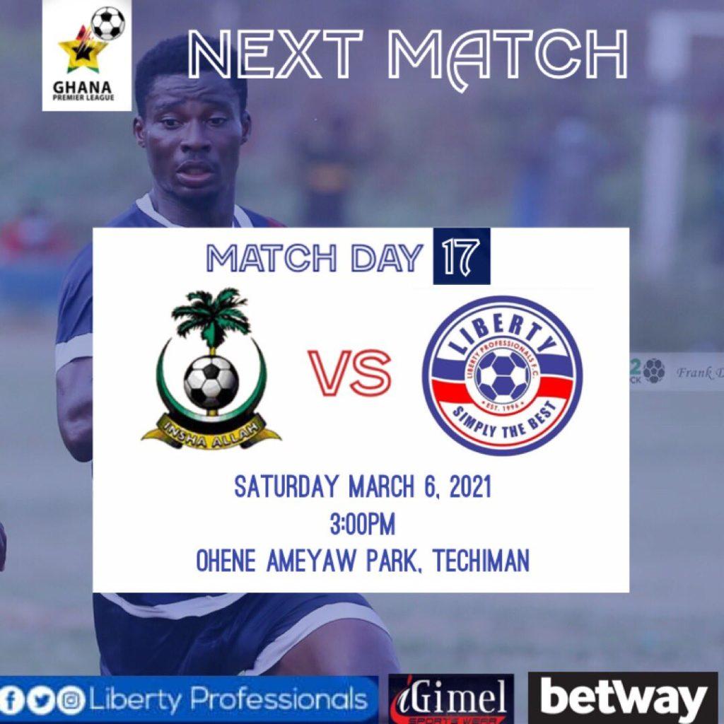 2020/21 Ghana Premier League: Week 17 Match Preview- King Faisal vs Liberty Professionals