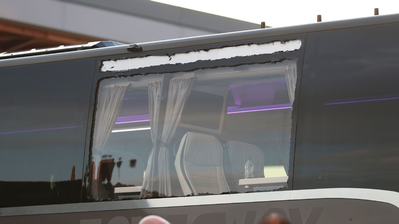 Madrid bus window smashed on way to Anfield