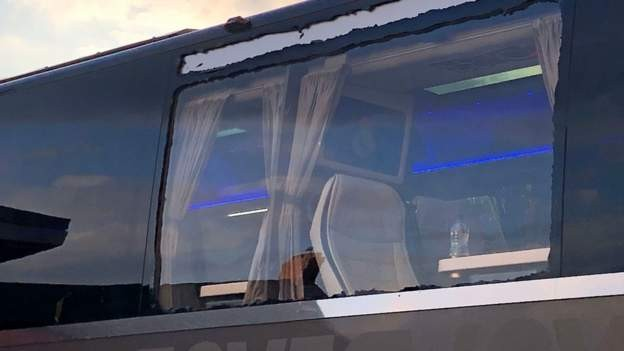 Window smashed on Real Madrid's bus