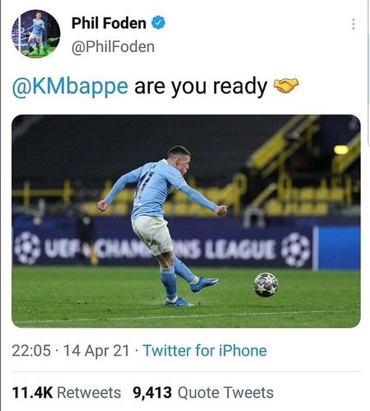 Foden furious with social media after Mbappe taunt is posted on his account