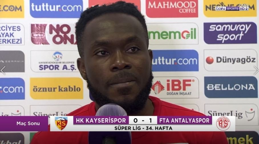 Kayserispor midfielder Joseph Attamah reacts to defeat against Antalyaspor