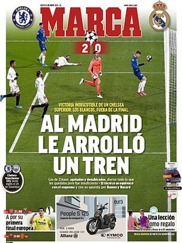 'Madrid rolled over by a train': Papers tear into Real following their UCL exit