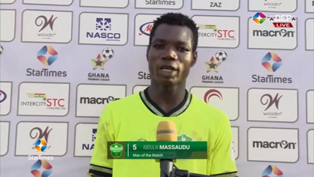 2020/21 Ghana Premier League: Dreams FC defender Abdulai Massaudu wins MOTM in Hearts win