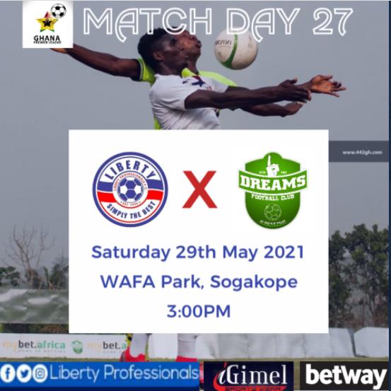 2020/21 Ghana Premier League: Week 27 Match Preview- Liberty Professionals vs Dreams FC