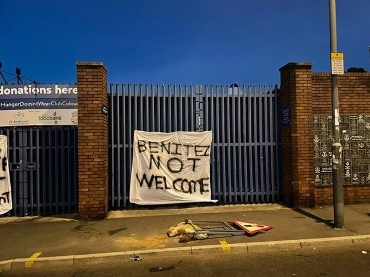 Everton fans protest Benitez appointment with x-rated banners at Goodison Park