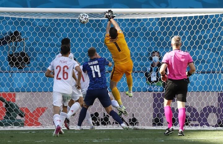 HT: Slovakia 0-2 Spain. Dubravka nets OWN goal, Morata penalty parried away