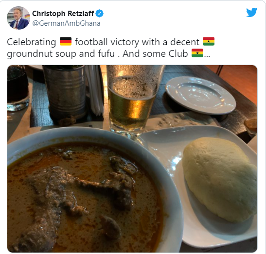 German Ambassador Christoph Retzlaff celebrates side's EURO 2020 win over Portugal with 'fufu and groundnut soup'