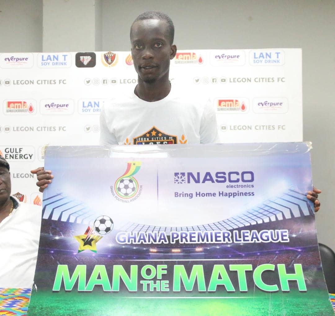 2020/21 Ghana Premier League: Legon Cities' Vincent Adu Gyamfi picks MOTM award in narrow win over Inter Allies