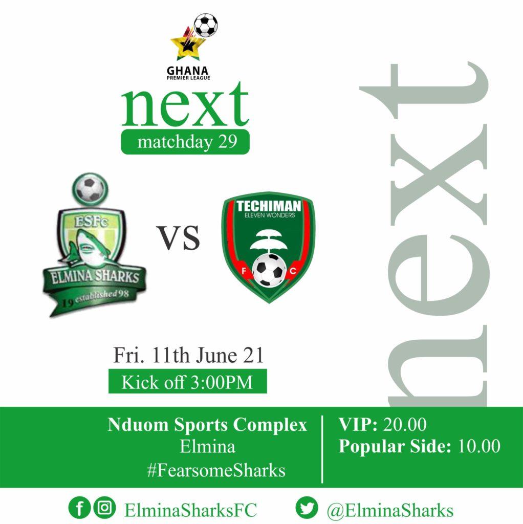 2020/21 Ghana Premier League: Week 29 Match Preview- Elmina Sharks v Eleven Wonders