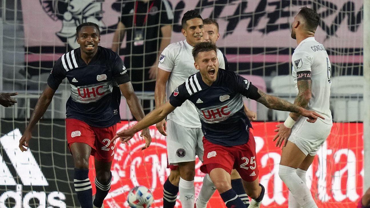 Revolution score 5 past last-place Inter Miami