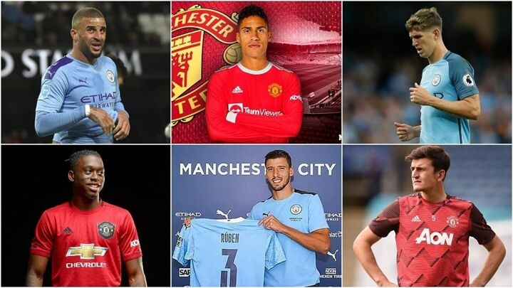 Manchester United and City have spent 765m euros on defenders since 2016