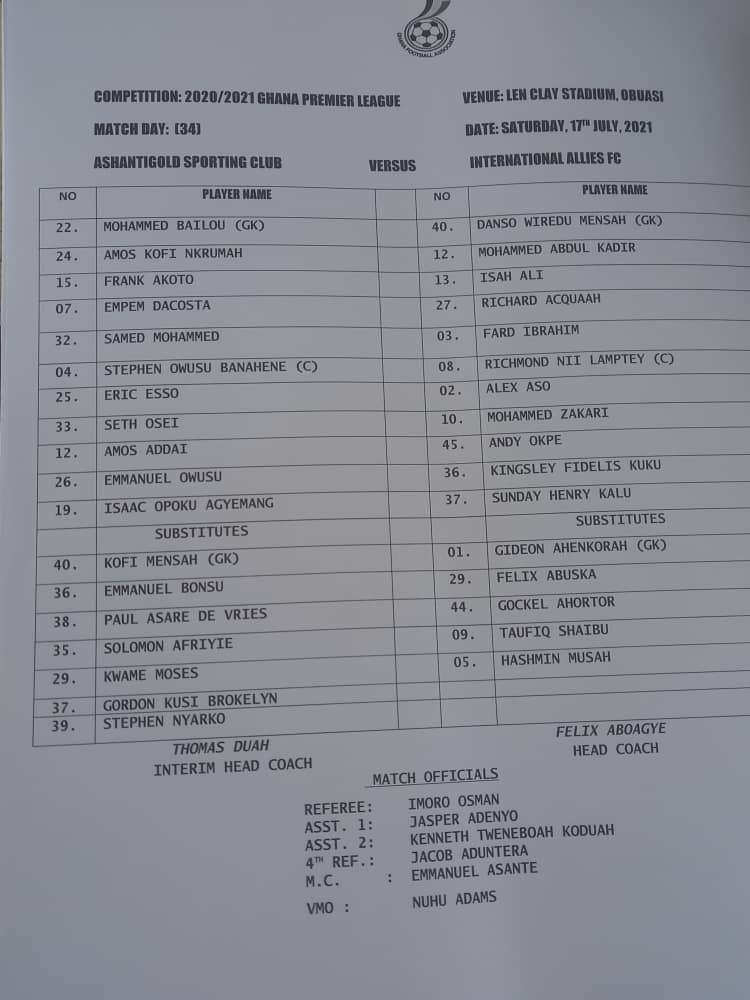 Check out names of Ashanti Gold and Inter Allies players and officials who featured in disgraced match-fixing plot