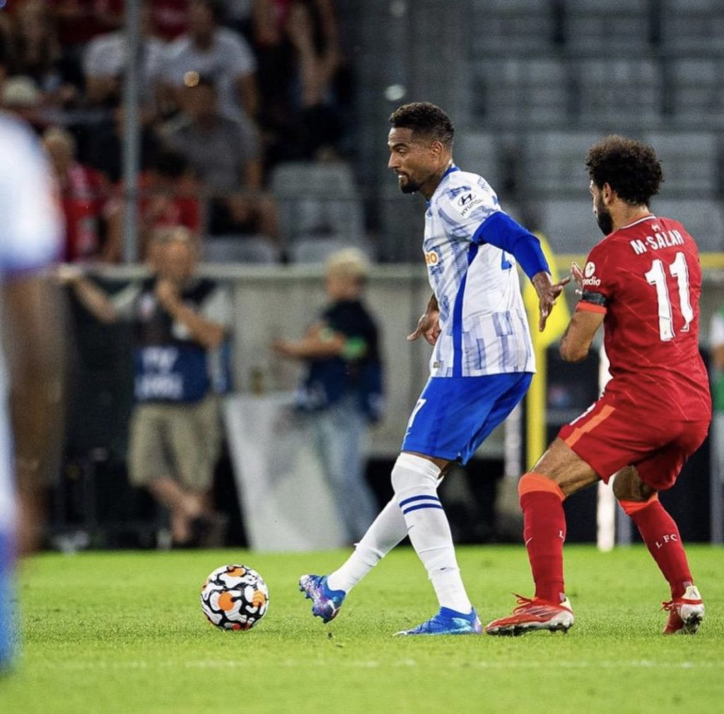 Kevin Prince-Boateng reacts to Hertha Berlin's pre-season victory over Liverpool