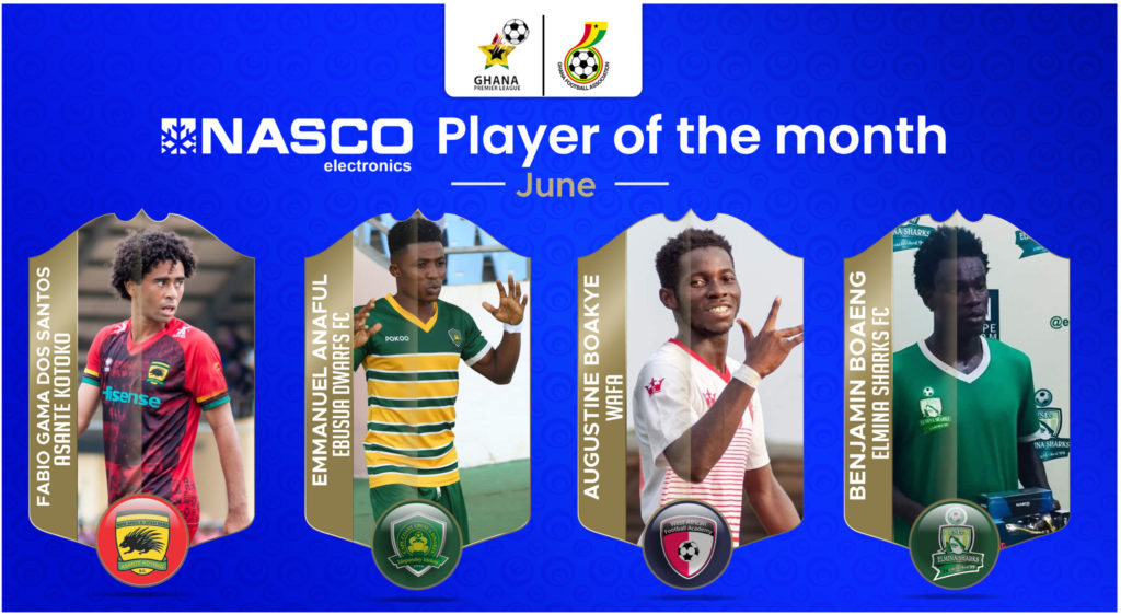 Fabio Gama, Augustine Boakye, and others nominated for player of the month award