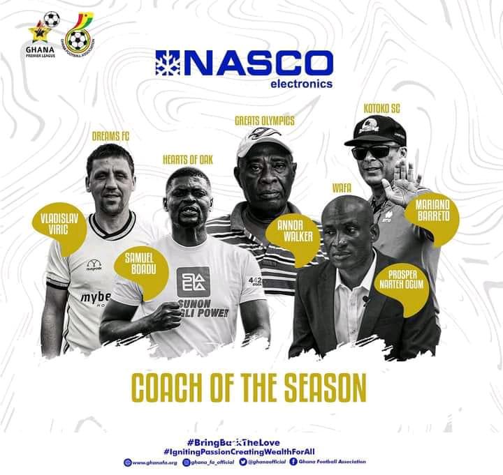 Hearts of Oak coach Samuel Boadu and four others nominated for Ghana Premier League coach of the season