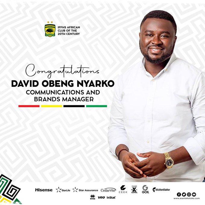 Asante Kotoko confirm David Obeng Nyarko as communications and brands manager