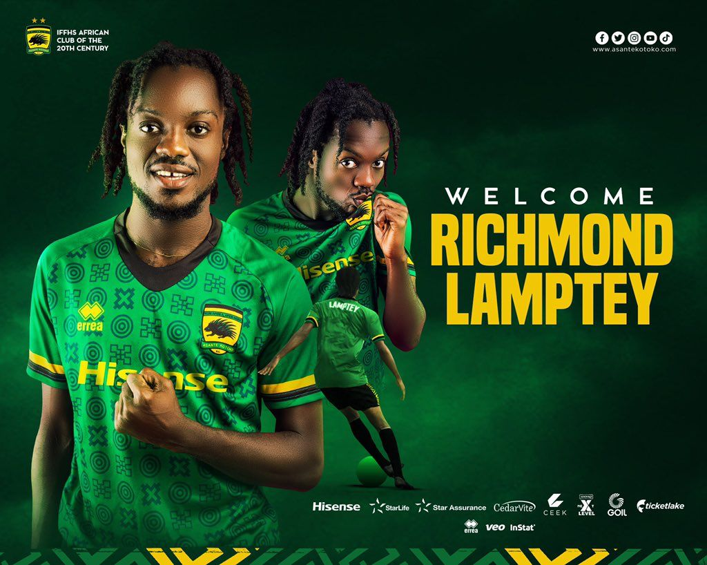 OFFICIAL: Asante Kotoko announce signing of midfielder Richmond Nii Lamptey from Inter Allies