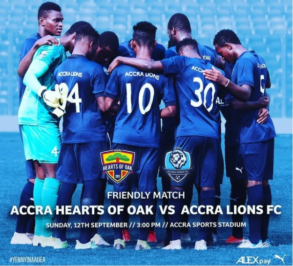 Ghana Premier League newcomers Accra Lions FC confirm Hearts of Oak friendly this Sunday