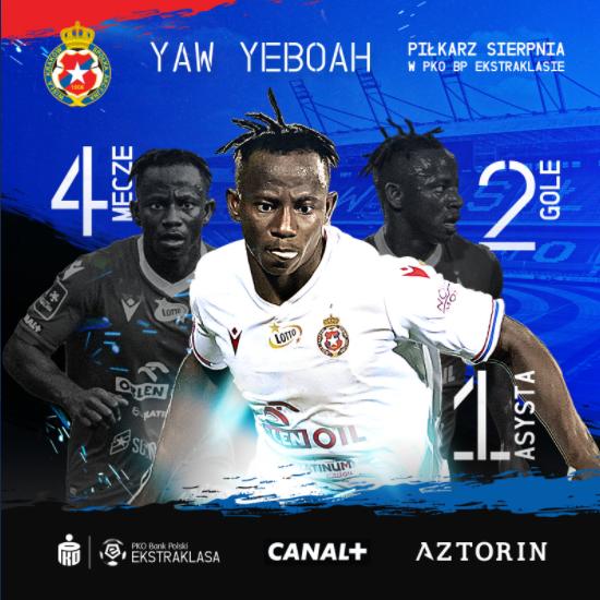 VIDEO: Ghana forward Yaw Yeboah thanks fans  after winning Ekstraklasa Player of the Month for August