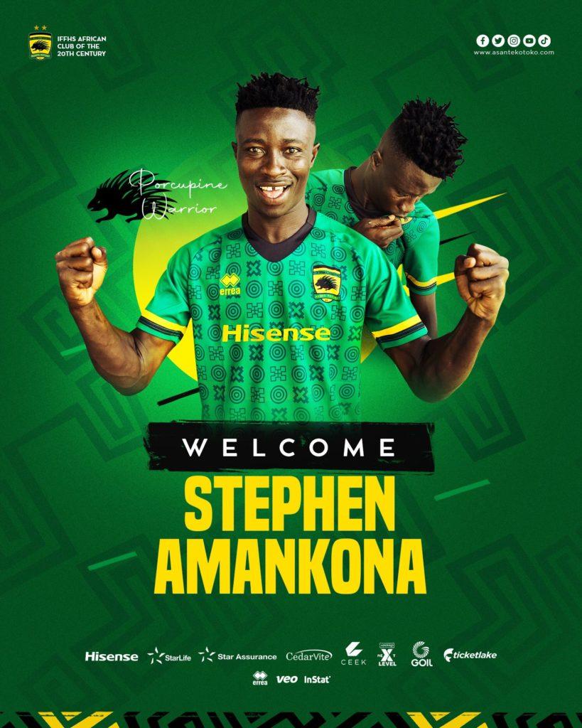 OFFICIAL: Asante Kotoko complete signing of attacking midfielder Stephen Amankona from Berekum Chelsea