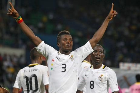 Asamoah Gyan first to arrive for Ghana's double-header